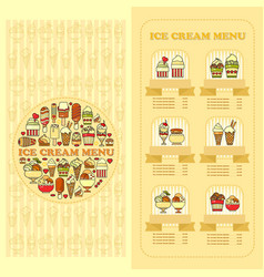 Ice cream menu card set of cute desserts icons vector