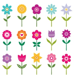 Isolated flowers set vector image vector image