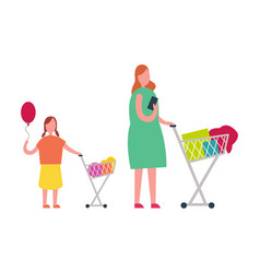 Mother and daughter doing shopping vector