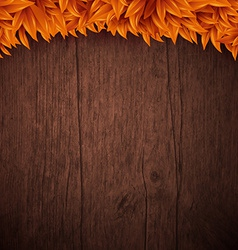 Natural background with wooden board and autumn vector image