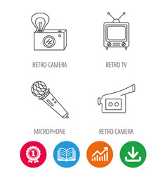 Photo video camera and microphone icons vector