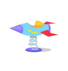 rocket carousel on spring on white background vector image