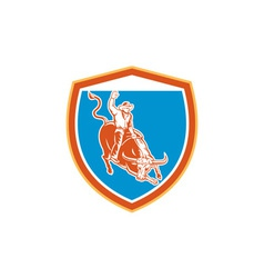 Rodeo cowboy bull riding shield retro vector