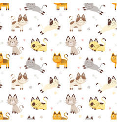 Seamless pattern cat vector