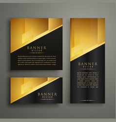 Set of three premium golden banner design vector