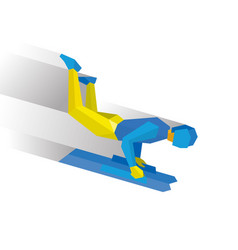 Skeleton cartoon sportsman jump on sled bobsled vector