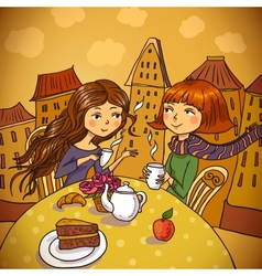 Two young women drinking coffee in cafe vector