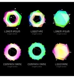 Unusual abstract geometric shapes logo set vector