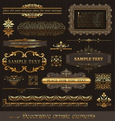 Vector set golden page decor vector