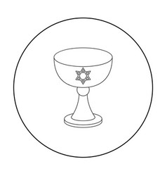 wine cup icon in outline style isolated on white vector image vector image