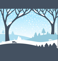 winter landscape nature scene with trees roe deer vector image vector image