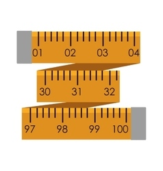 Yellow tape measure in inches vector