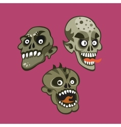 Zombie head set vector image