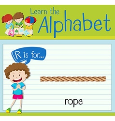 Flashcard letter r is for rope vector