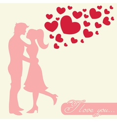 Romantic valentine lovers silhouette vector