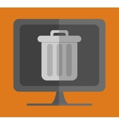 Computer with trash can on screen icon image vector