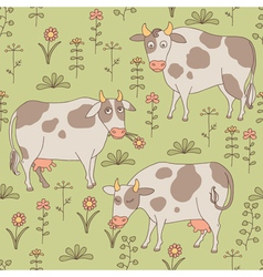 Seamless texture with cows bull and flowers vector