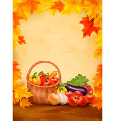 Autumn background with fresh vegetables in basket vector