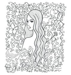 Half-turned girl vector image