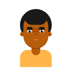 Thoughtful facial expression of black boy avatar vector