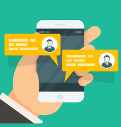Incoming messages on smartphone screen - chat vector