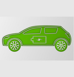 Green hybrid origami car in paper art electric vector