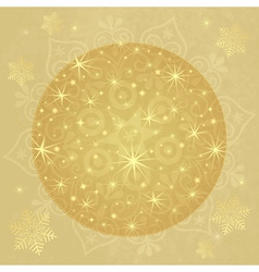 Old paper with golden christmas ball vector