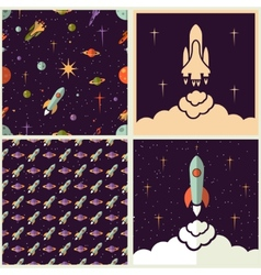 Planets rockets and stars vector