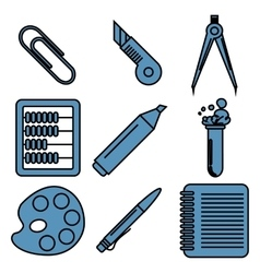 Black school goods linear icons part 2 vector