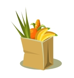 Brown paper bag with food vector