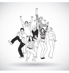 Group happy young people isolate black and white vector