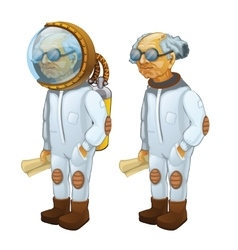 Bald scientist with diving and without it vector