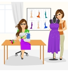dressmaker woman and fashion designer in studio vector image
