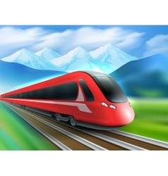 Speed train mountains background realistic poster vector