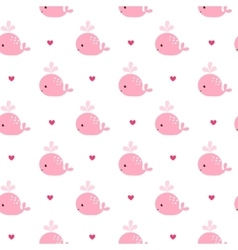 Cute background with cartoon pink whales vector