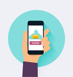 Hand holding mobile smart phone app with send vector