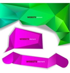 abstract origami paper banner website element vector image vector image