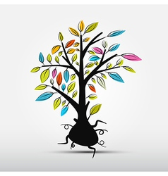 Abstract Tree Isolated on Grey Background vector image vector image