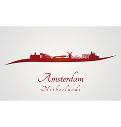 Amsterdam skyline in red vector