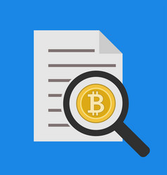 analysis and reporting bitcoin icon in flat vector image vector image