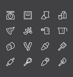 bakery tools white icon set on black background vector image