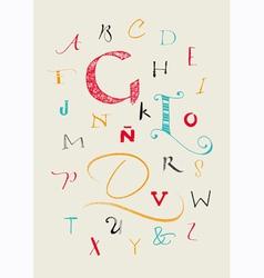 Calligraphic hand written uppercase alphabet vector
