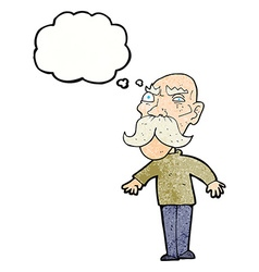 cartoon angry old man with thought bubble vector image