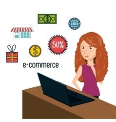 Cartoon woman e-commerce isolated design vector