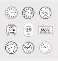 clocks - set of modern isolated objects vector image vector image