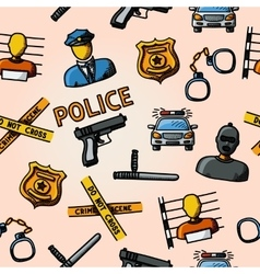 Color hand drawn police pattern - gun car crime vector