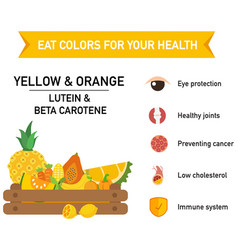 eat colors for your health-yellow amp orange vector image