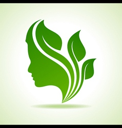 Eco icon with women face stock vector image vector image