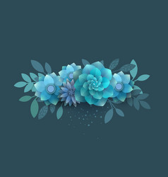 Flower composition of paper blue flowers vector