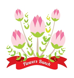 Flowers bunch with red ribbon vector